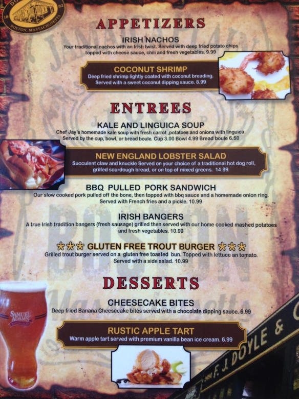 Doyle S Cafe Boston Menu
